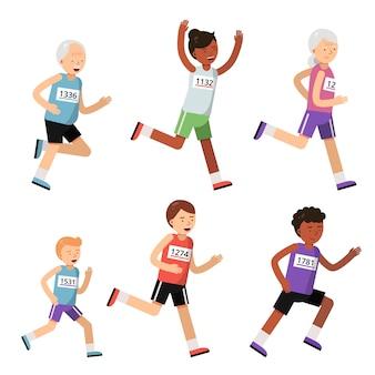 Correndo pessoas de diferentes idades. personagens do esporte. maratona