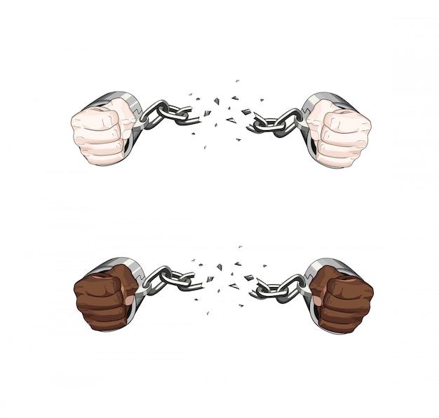 Corrente de algemas quebradas de escravo livre. mãos brancas e africanas. ilustração gráfica