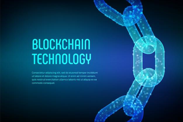 Corrente de bloqueio. moeda criptografada. conceito blockchain. corrente de wireframe 3d com blocos digitais. modelo editável de criptomoedas. ilustração em vetor de estoque
