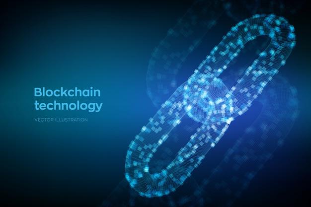 Corrente de estrutura de arame 3d com blocos digitais. conceito de blockchain.