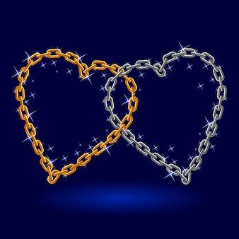 Corrente de prata e ouro coração.