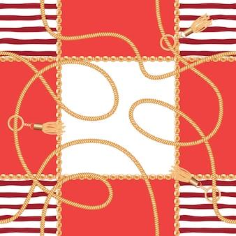 Correntes, borlas, cordas, marinho, seamless, padrão