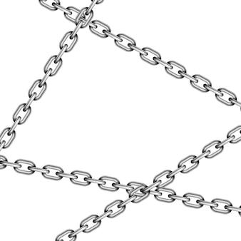 Correntes cruzadas de metal lustroso isoladas no branco