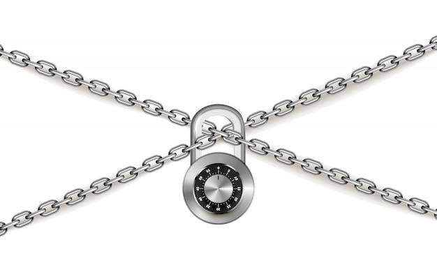 Correntes cruzadas de metal prata brilhante com cadeado redondo código em branco