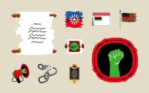 Correntes de bandeiras de pergaminho da décima primeira liberdade