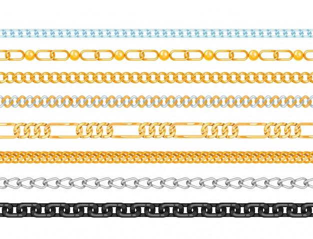 Correntes de ligação padrão sem emenda de vetor de conexão força de peças ligadas de metal e ferro equipamento proteção forte sinal brilhante design espaço.