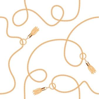 Correntes de ouro com padrão sem emenda de borlas