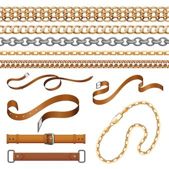 Correntes e tranças. pulseiras, cintos de couro e elementos de móveis dourados, conjunto de joias ornamentais