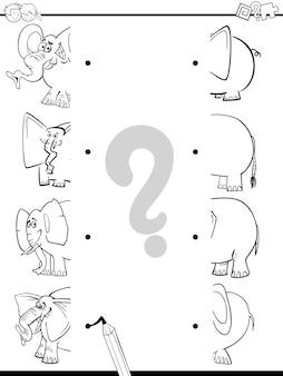 Correspondência de elefantes para colorir
