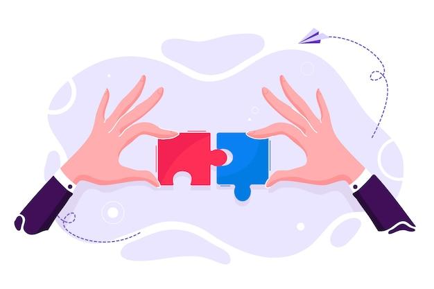 Correspondência de negócios - conectando elementos de quebra-cabeça