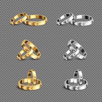 Correspondência de platina ouro suas alianças de casamento anéis série 6 realista define ilustração transparente de fundo transparente