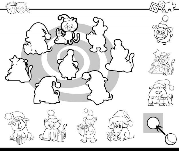 Correspondência de silhuetas, jogo, colorir, página