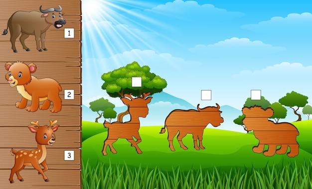 Correspondência de sombra do jogo de animais selvagens