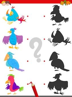 Correspondência de sombras jogo educativo com aves
