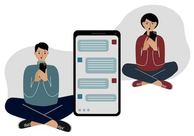 Correspondência online de pessoas em mensagens. um homem e uma mulher sentam-se de pernas cruzadas e xingam, enviando mensagens de texto ao telefone. gráficos vetoriais.