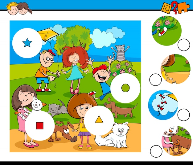 Correspondência peças quebra-cabeças com crianças e animais de estimação