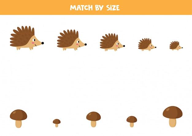 Corresponder por tamanho. ouriço e cogumelos bonito dos desenhos animados.