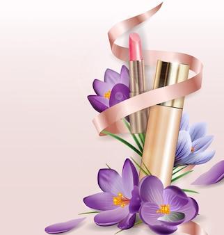 Corretivo de base de produto cosmético com flores açafrão fundo de beleza e cosméticos