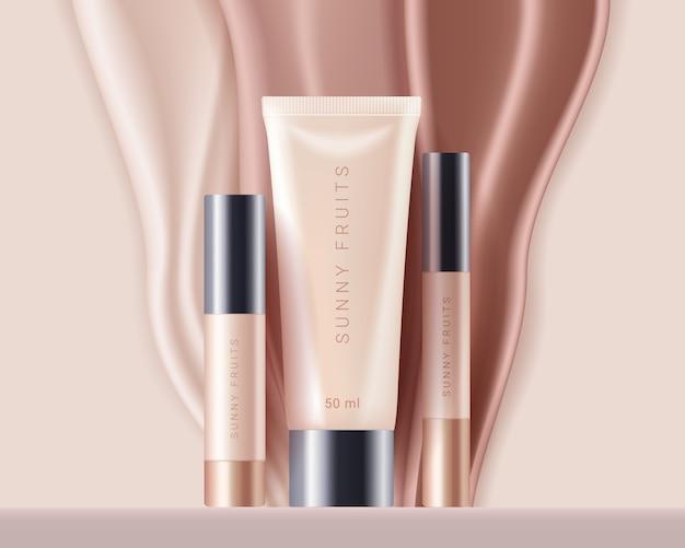 Corretivo, modelo de anúncios de cosméticos de fundação