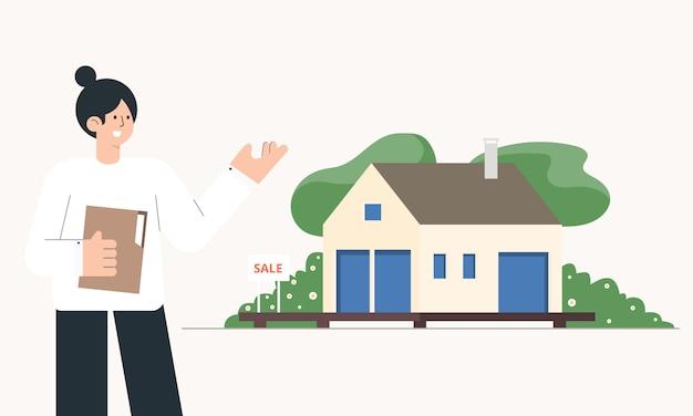 Corretor de imóveis com casa à venda. conceito imobiliário. ilustração dos desenhos animados.