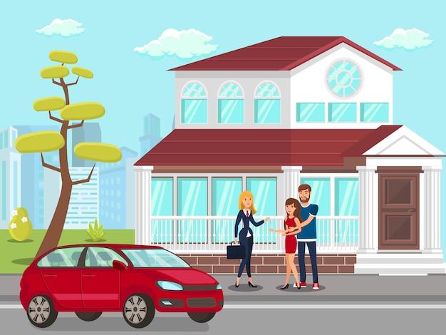 Corretor de imóveis com compradores de propriedades
