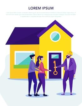 Corretor de imóveis dá chave casa de fundo familiar.