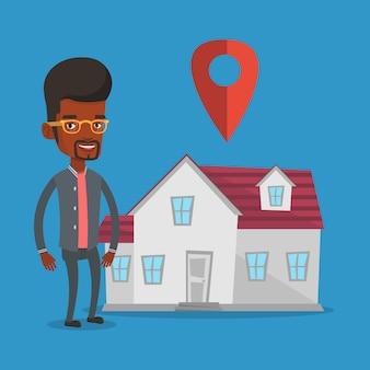Corretor de imóveis em plano de fundo da casa com ponteiro de mapa.