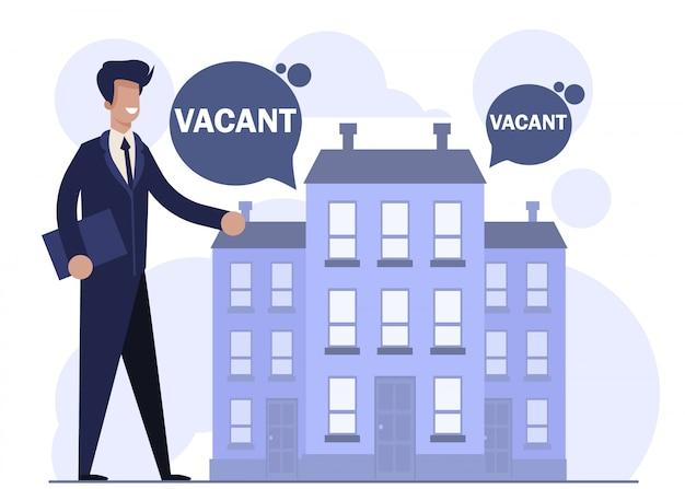 Corretor de imóveis mostrando apartamento vazio em casa apartamento
