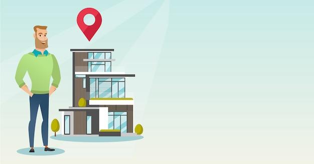 Corretor de imóveis na casa ao ar livre com o ponteiro do mapa. copyspace