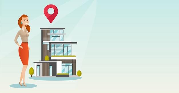 Corretor de imóveis na casa ao ar livre com o ponteiro do mapa.