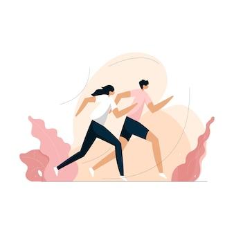 Corrida ao ar livre pela manhã, conceito de treino de fitness