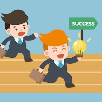 Corrida. as pessoas do homem de negócios correm com ideia pela maneira do sucesso.