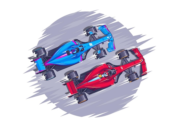 Corrida de carro de ilustração vetorial f1 corrida de velocidade modernos carros esportivos rápidos carros esportivos estão competindo