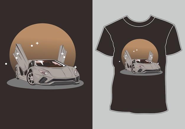Corrida de carros esportivos de camiseta