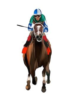 Corrida de cavalos com um jóquei de respingos de aquarelas coloridas desenho realista equitação