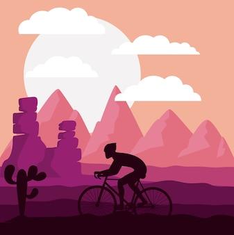 Corrida de ciclismo com fundo de paisagem bonita