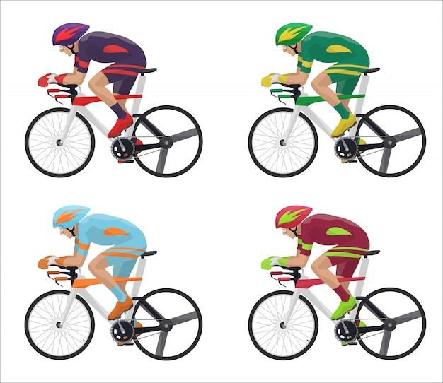 Corrida de ciclistas em ação