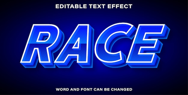 Corrida de efeito de texto editável azul