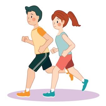 Corrida de exercício dos desenhos animados