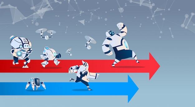 Corrida de grupo de robôs modernos