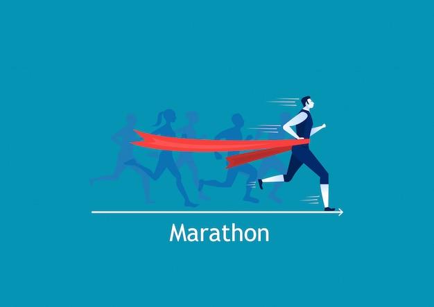 Corrida de homem correndo para ganhar no azul