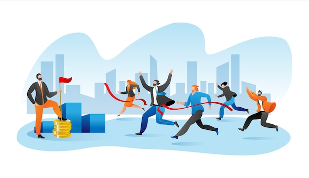 Corrida de maratona de negócios, corrida de empresários em pista plana