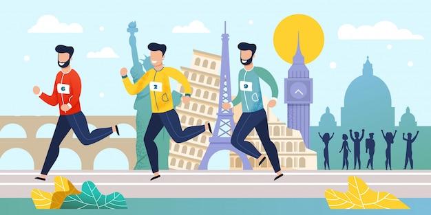 Corrida de maratona do mundo concorrência flat cartoon