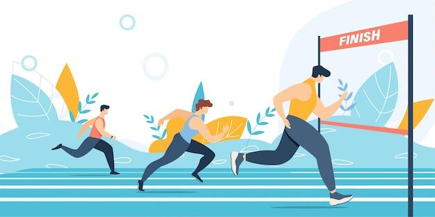 Corrida de maratona e linha de chegada