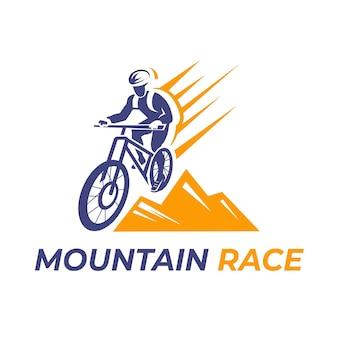 Corrida de montanha com logotipo detalhado de bicicleta