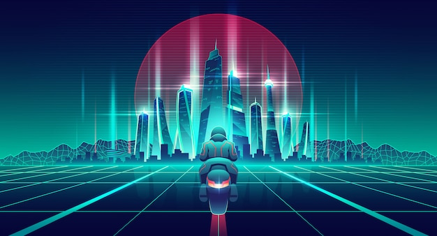 Corrida de motos no vetor de desenhos animados do mundo virtual