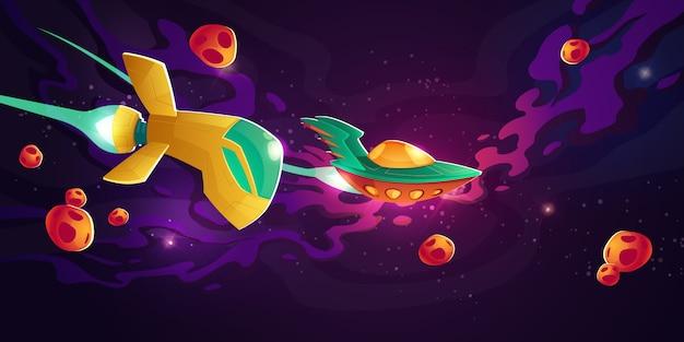 Corrida de naves espaciais em ilustração vetorial de espaço sideral