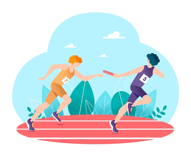 Corrida de revezamento. atletismo.