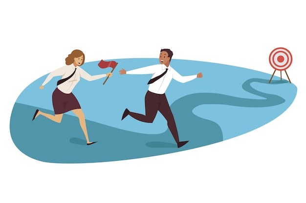 Corrida de revezamento, segmentação, trabalho em equipe.