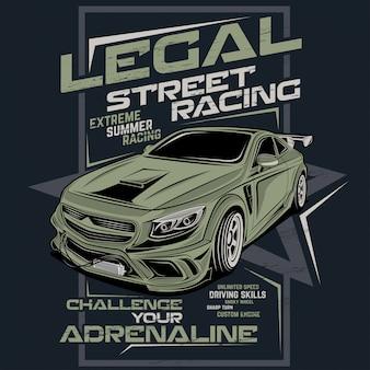 Corrida de rua legal, ilustração vetorial de carro